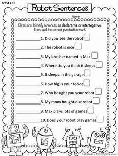 interrogative worksheets 18912 free printable robot worksheets addition and declarative interrogative sentences