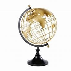 globe mappemonde en m 233 tal dor 233 et noir globes decoratie