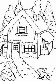 Ausmalbilder Haus Mit Schnee Haus Im Winter 2 Ausmalbild Malvorlage Winter