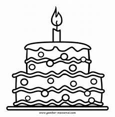 Mewarnai Gambar Kue Ulang Tahun Contoh Gambar Mewarnai