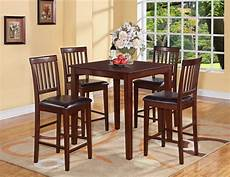 5pc vernon square counter height kitchen table with 4 leather chairs mahogany ebay