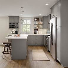 Grey Kitchen Base Cabinets by Cambridge Base Cabinets In Gray Kitchen The Home Depot