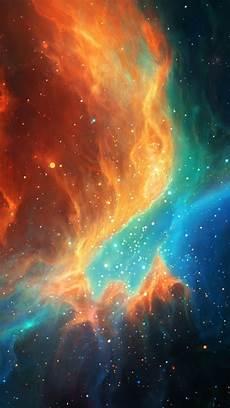 Orange Space Phone Wallpaper orange blue colorful nebula illustration iphone 5