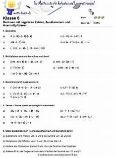 ausklammern ausmultiplizieren arbeitsblatt klasse 5 mathefritz