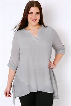 layering blouse grey layered blouse with notch neck plus size 16 to 36
