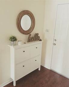 Our Small Entryway Ikea Hemnes Shoe Cabinet Apartment