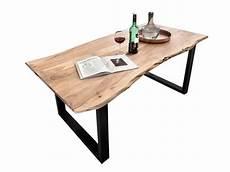 Schreibtisch 1m Tief - esstisch aus akazie antikfinish mit baumkante stahlgestell