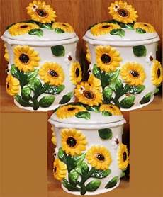 sunflower canisters for kitchen sunflower kitchen decor theme ceramics canister cookie