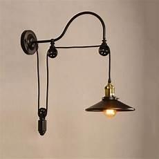 retro loft wall l industry vintage wall light adjustable iron pulley l bedroom restaurant