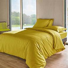 housse de couette 260 x 240 cm jaune moutarde
