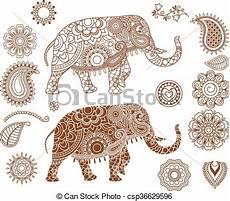 Indianische Muster Malvorlagen Bilder Eps Vektoren Muster Indische Elefant Mehendi