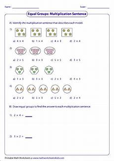 writing addition and multiplication sentences worksheets 22118 equal groups multiplication sentences matek multiplication sentences and math