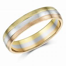 5mm 9ct gold 3 colour court shape wedding ring band 9ct