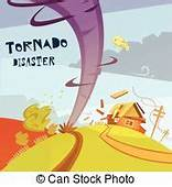 Danger Tornado Disaster In Cartoon Style For Weather