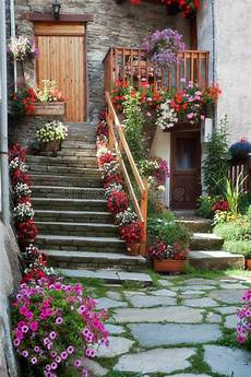 fiori a casa staircase with flowers stock photo image 51488111
