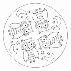 owl mandala for pre k kindergarten and elementary school