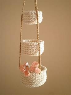 Home Decor Gift Basket Ideas by 3 Tier Crochet Baskets Mini Hanging Baskets