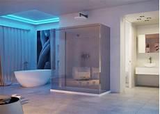 Decke Im Badezimmer - abgeh 228 ngte decke im badezimmer mit blauer led beleuchtung