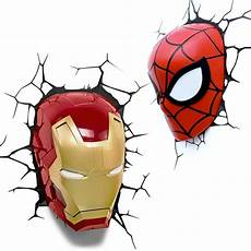 3d fx marvel lights spiderman iron man 3d deco wall