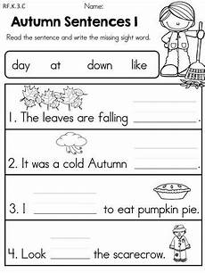 free printable writing sentences worksheets for kindergarten 22201 fall literacy activities and worksheets no prep kindergarten kindergarten writing writing