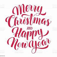 merry christmas and happy new year text calligraphic vector illustration stock illustration