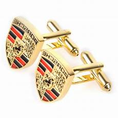 golden porsche logo automotive car mens cufflinks gift