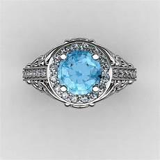 italian 14k white gold 1 0 ct blue topaz diamond