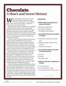 the history of chocolate chocolate unit history of chocolate reading comprehension
