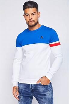 sweat le coq sportif bleu blanc sweat bicolore bleu blanc le coq sportif 1911623
