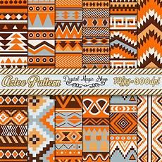 Indianische Muster Malvorlagen C 12 Orange Braun Grau Azteken Muster Digital Paper Ikat