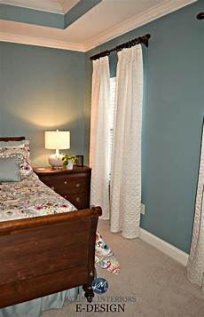 sherwin williams moody blue master bedroom beige carpet white drapes furniture m