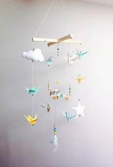 mobile basteln anleitung mobile b 233 b 233 origami bois vintage par creamaga sur etsy