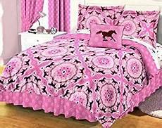 com 6 piece size 66 quot 86 quot pink brown pony bandana equestrian bedding