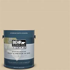 behr premium plus 1 gal 340f 4 expedition khaki satin enamel zero voc interior paint and