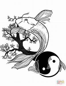 fish yin and yang coloring page free printable