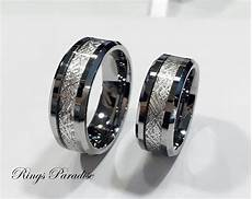 men s tungsten wedding band meteorite inlay ring by ringsparadise