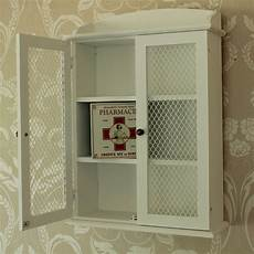 Small Bathroom Wall Storage Unit by White Wooden Mesh Wall Cabinet Shabby Vintage Style Home