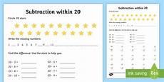 subtraction within 20 worksheet worksheet teacher made