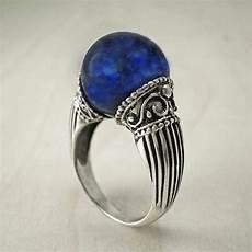lapis lazuli ring silver bead ring unique ring vintage ring sphere ring greek ring magic ring