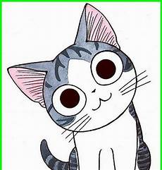 Gambar Kepala Kucing Kartun Lucu Kartun Menggambar