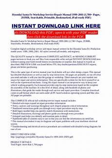 how to download repair manuals 2003 hyundai santa fe auto manual hyundai santa fe workshop service repair manual 1999 2001 1 700 pag