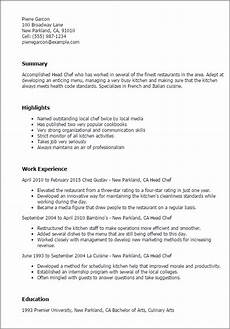 professional head chef templates to showcase your talent myperfectresume