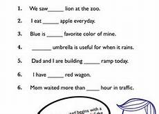 grammar articles worksheets education com