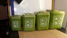 green canisters kitchen vntg set of 4 plastic avocado green kitchen canister set retro floral design guc ebay