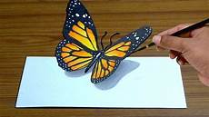 How To Draw 3d Butterfly In Simple Way Anamorphic