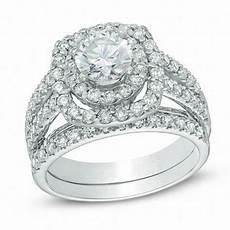 2 1 5 ct t w diamond double frame bridal in 14k
