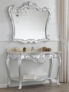 console arredamento consolle e specchio stile barocco foglia argento con