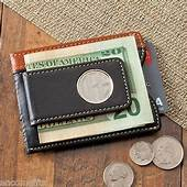Leather MONEY CLIP CREDIT CARD HOLDER ID WALLET Engraved
