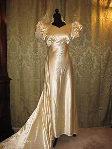 1930 S Antique Vintage Satin Wedding Gown By