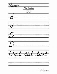letter d d nealian script handwriting practice worksheet have fun teaching